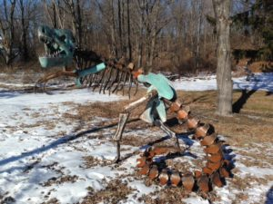 custom metal dinosaur statue