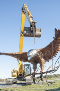 Seaman Eagle Sculpture installation Montezuma
