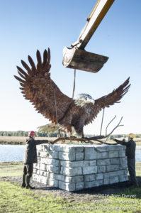 Seaman Eagle Sculpture Install Montezuma
