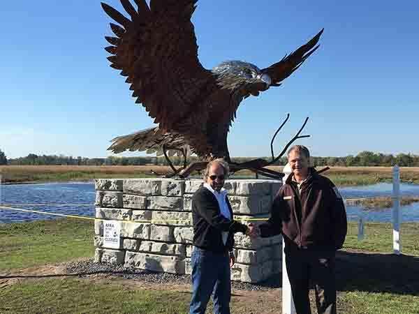 James Seaman Tom Jasikoff Eagle Sculpture Montezuma Wildlife Refuge