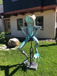Copper Frog on Unicycle-6ft